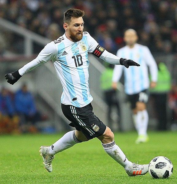 Lionel Messi beim Fußballspiel im Argentinien Trikot 2017