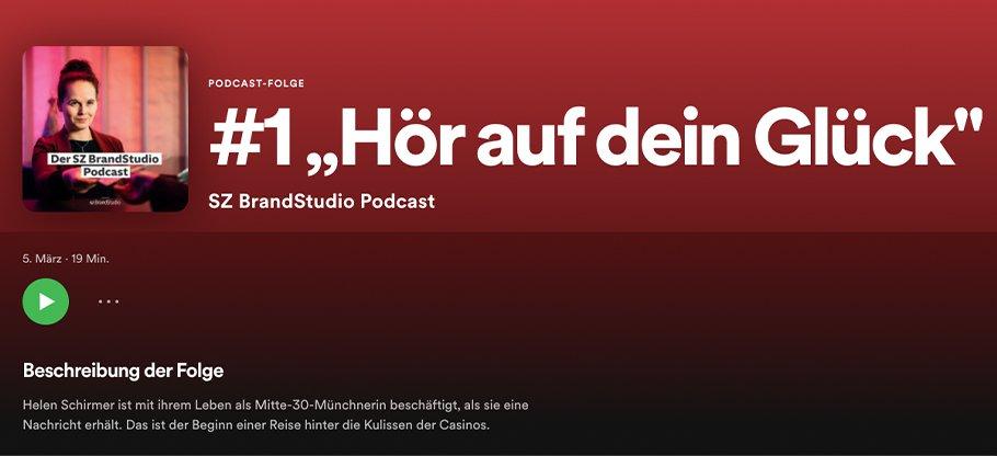 "Podcast Folge #1 ""Hör auf dein Glück"" Titelbild SZBrandStudio Podcast"