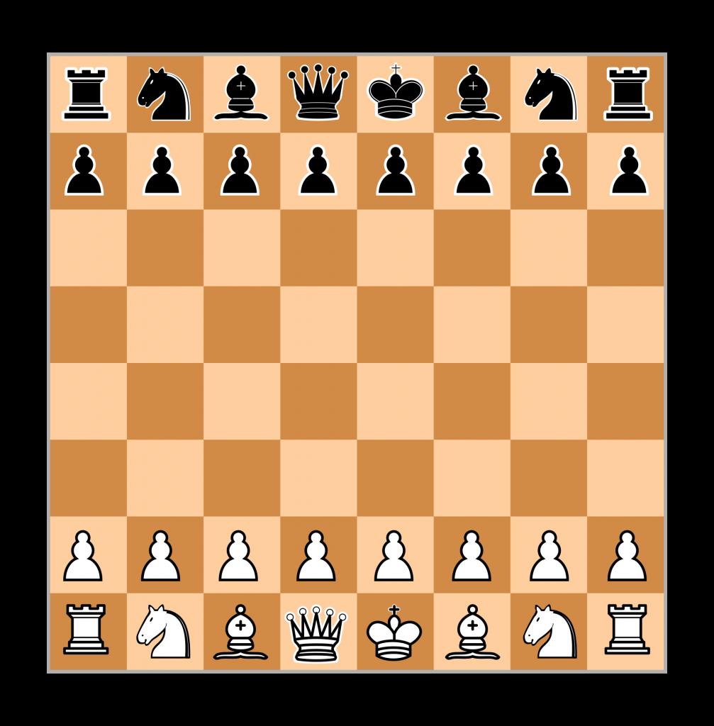 Schachbrett Aufstellung Figuren