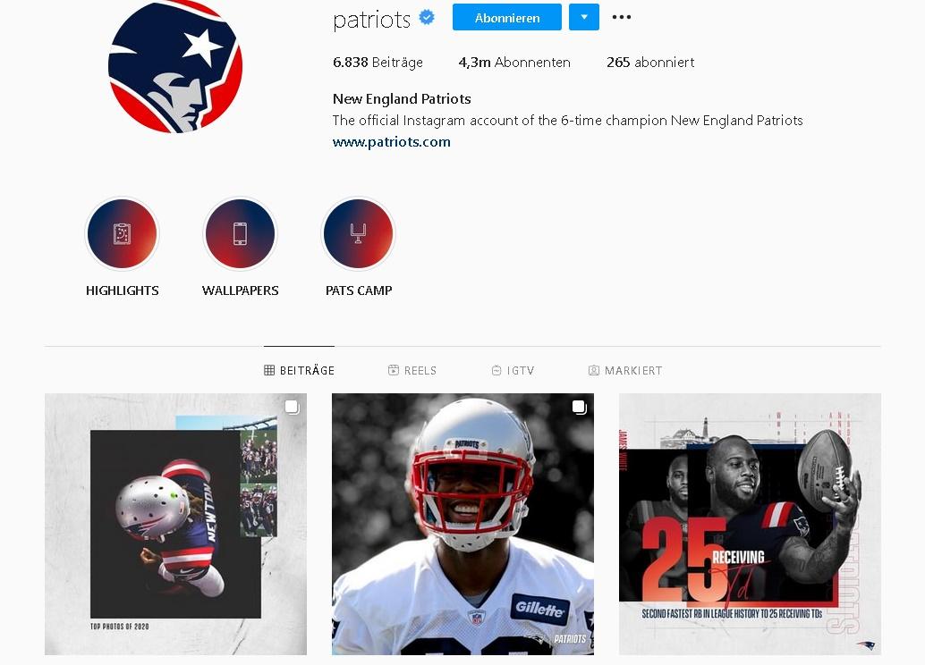 New England Patriots Instagram Profil