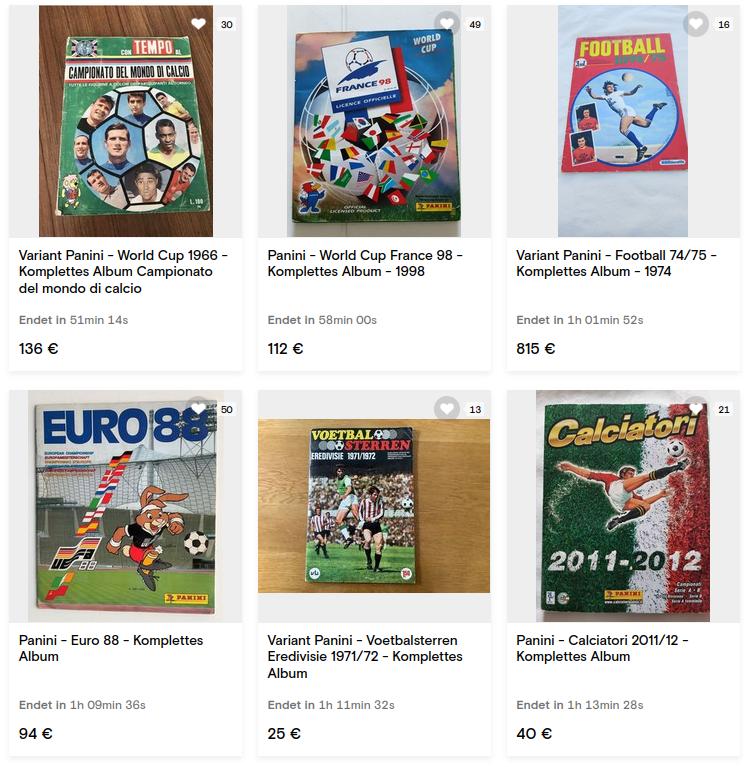 Fußball Sammelkarten: Auktionen von Panini Alben auf Catawiki.