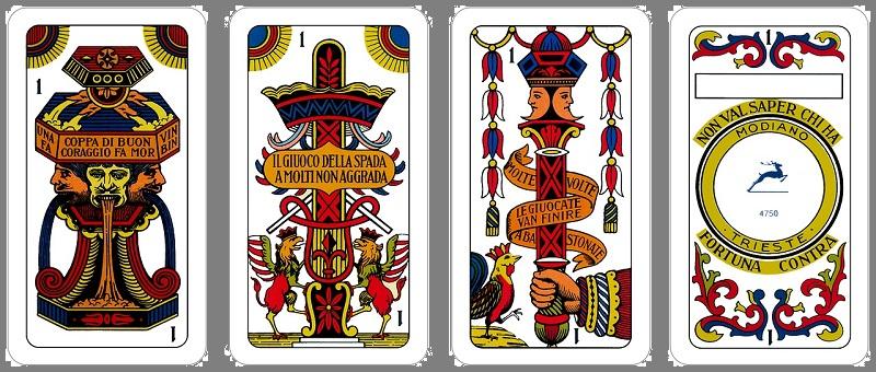 Italienische Spielkarten Bastoni Coppe Spade Denari