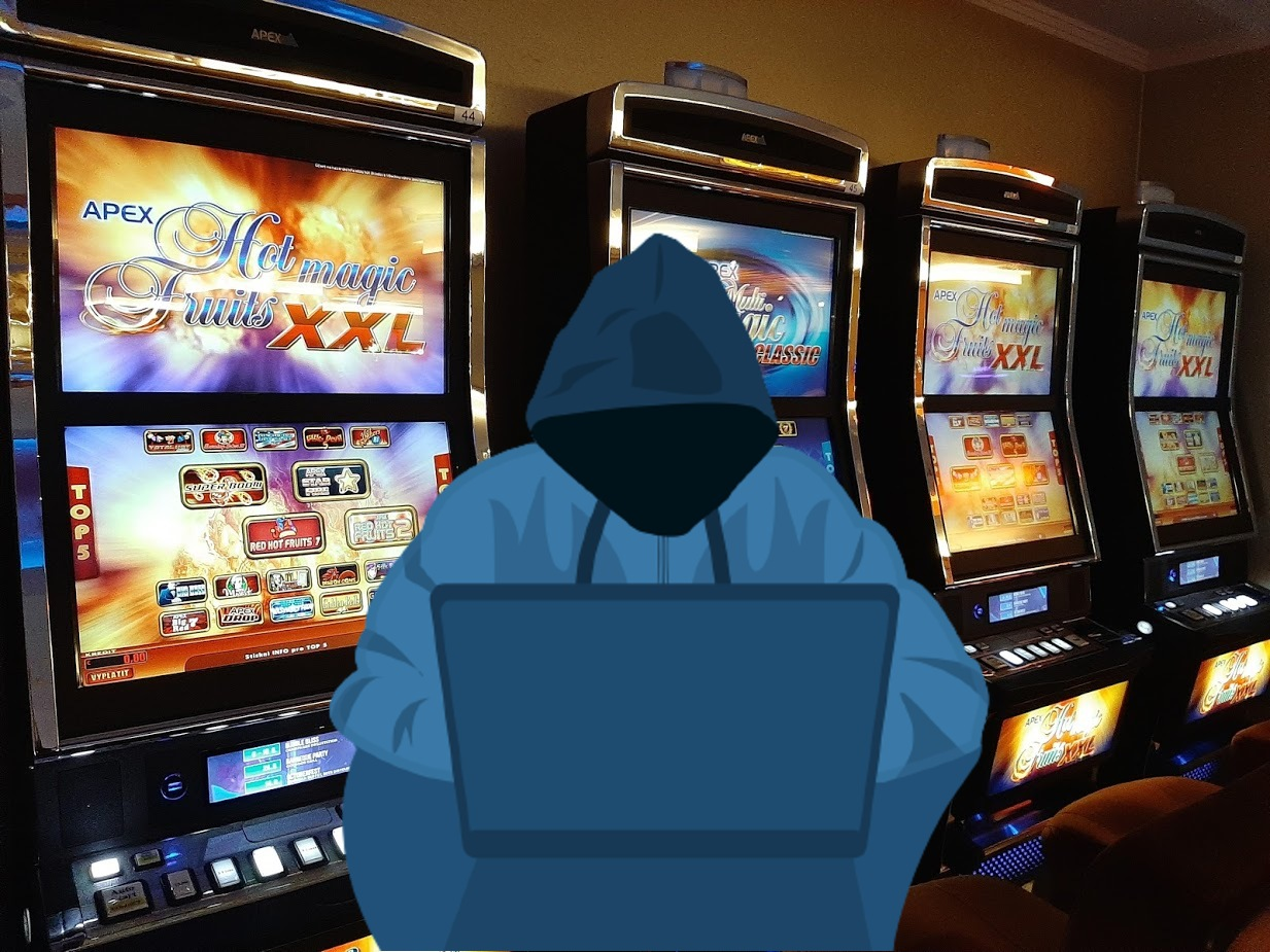 Spielautomaten, Hacker, Laptop