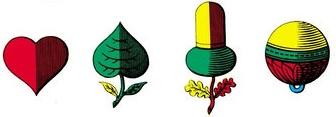 Schweizer Spielkartenfarben Eichel Blatt Herz Schellen