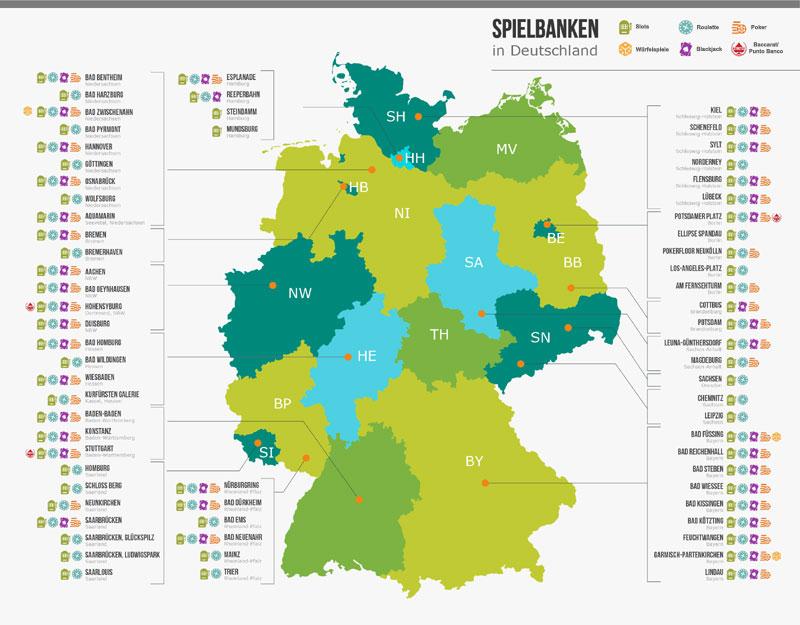 spielbank deutschland karte Casinos in Deutschland: Liste mit Öffnungszeiten & Alter