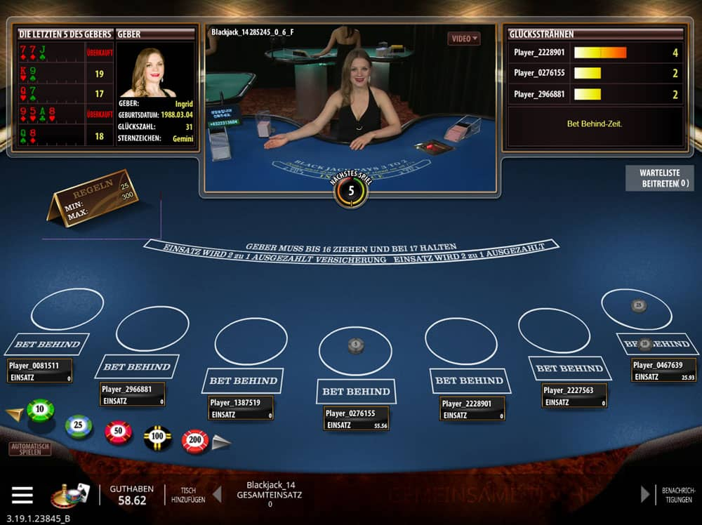 Live-Blackjack - Spielen Sie Live Dealer Blackjack online