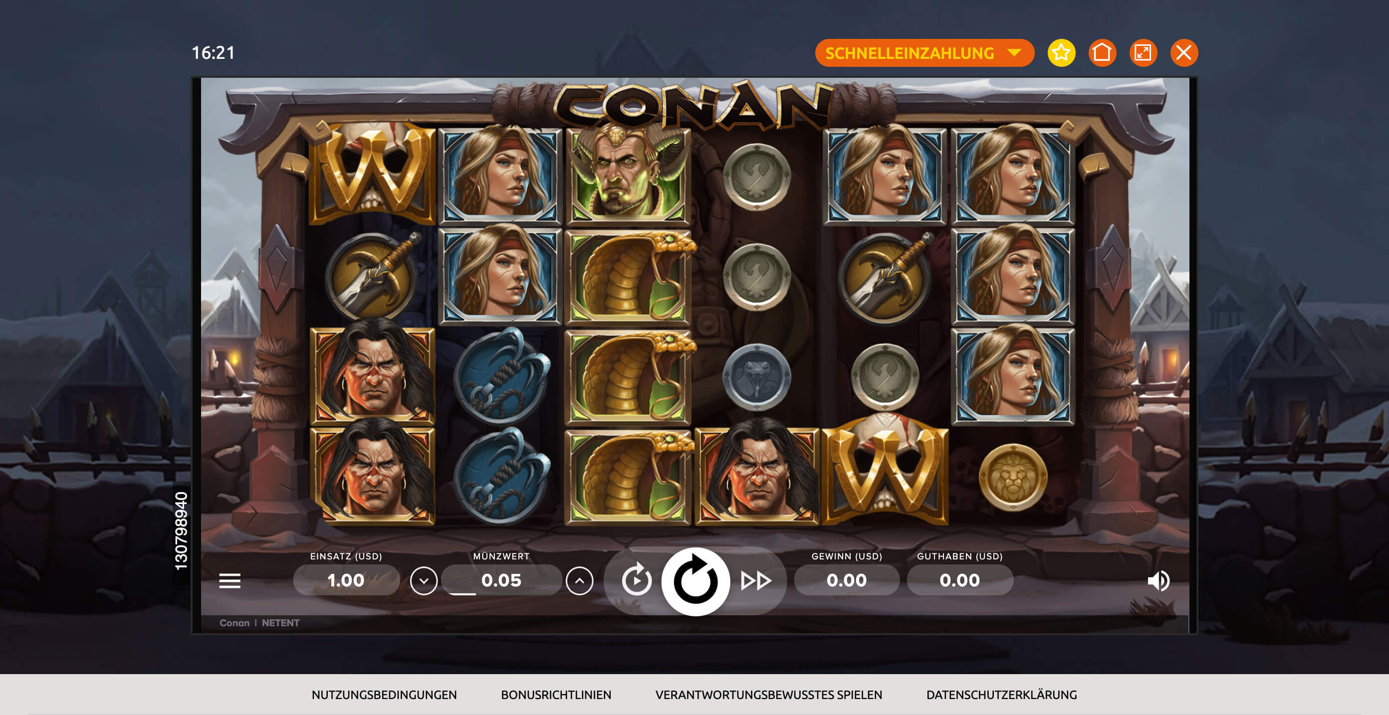 Desktop Screenshot des Conan Slots im BacanaPlay Casino
