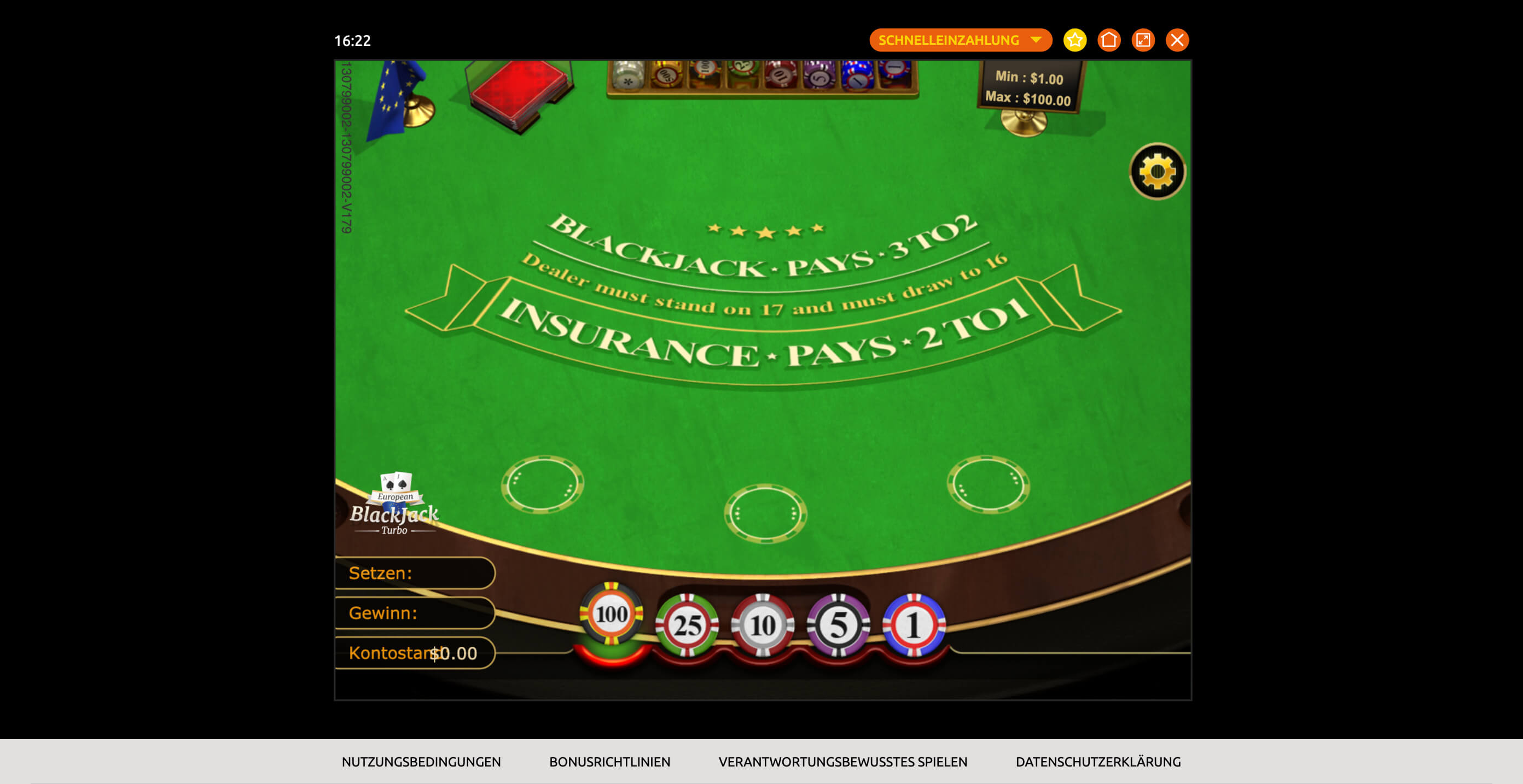 Desktop Ansicht von European Blackjack im BacanaPlay Online Casino