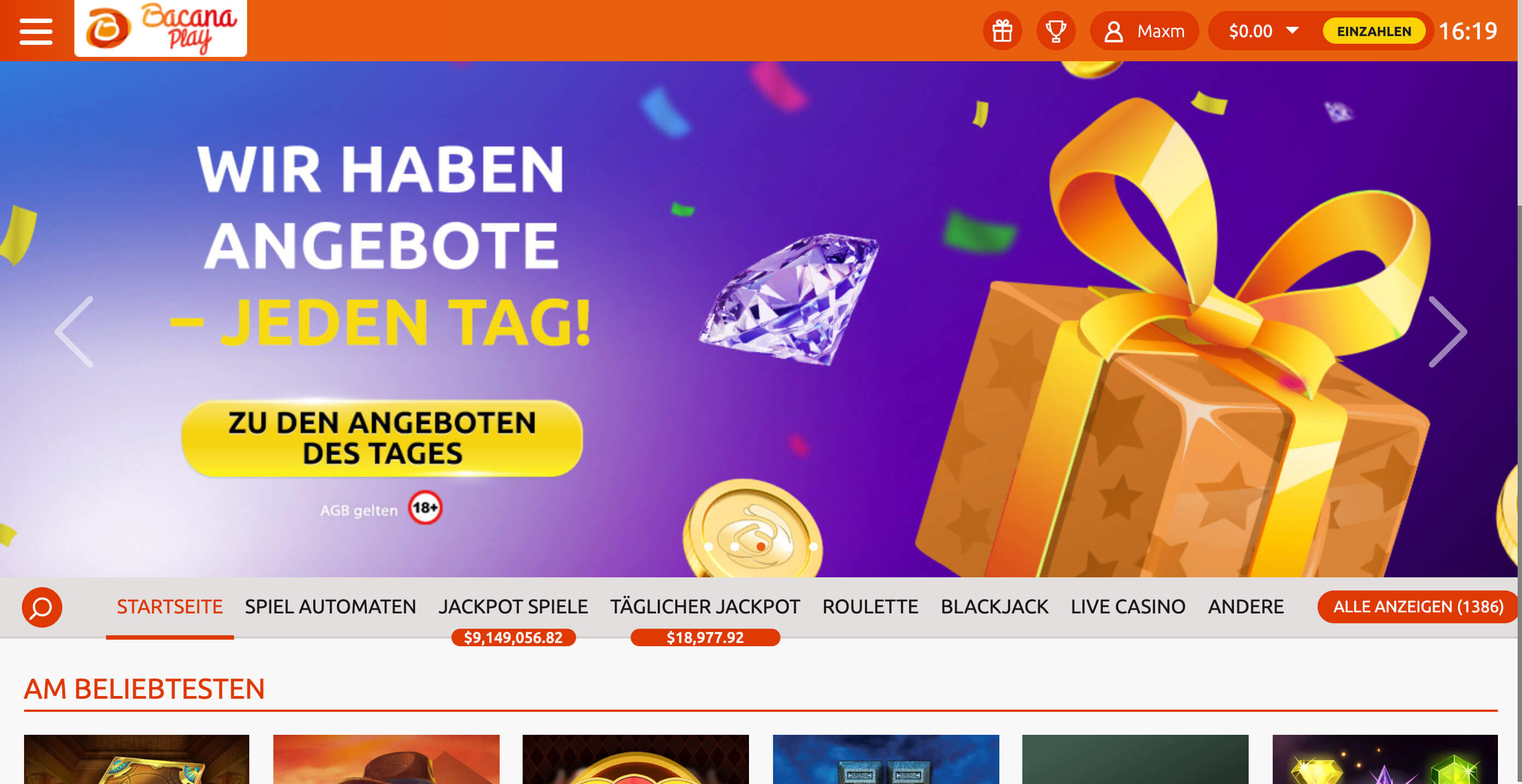 Screenshot der Desktop Homepage des BacanaPlay Online Casinos