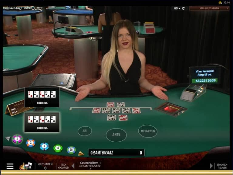 Live Dealer Casino Triple Pocket Hold'em Gold