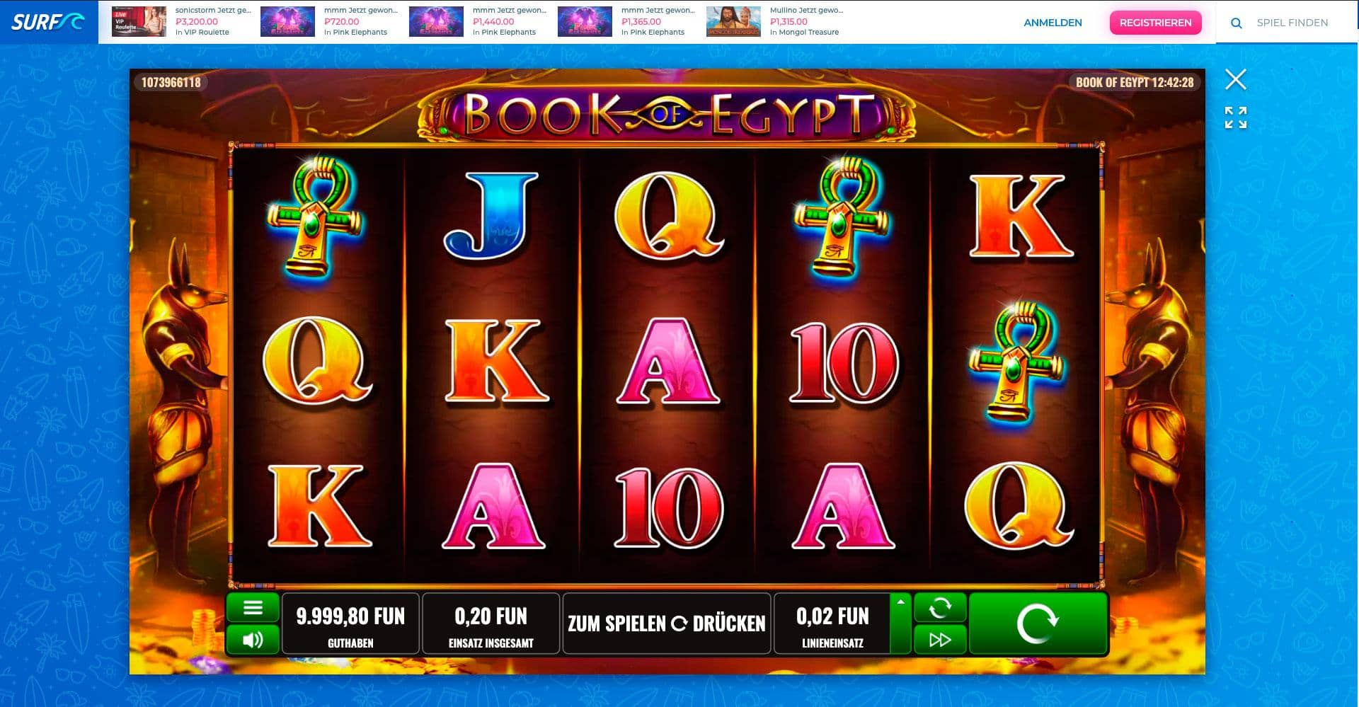 Surf Casino Book of Egypt