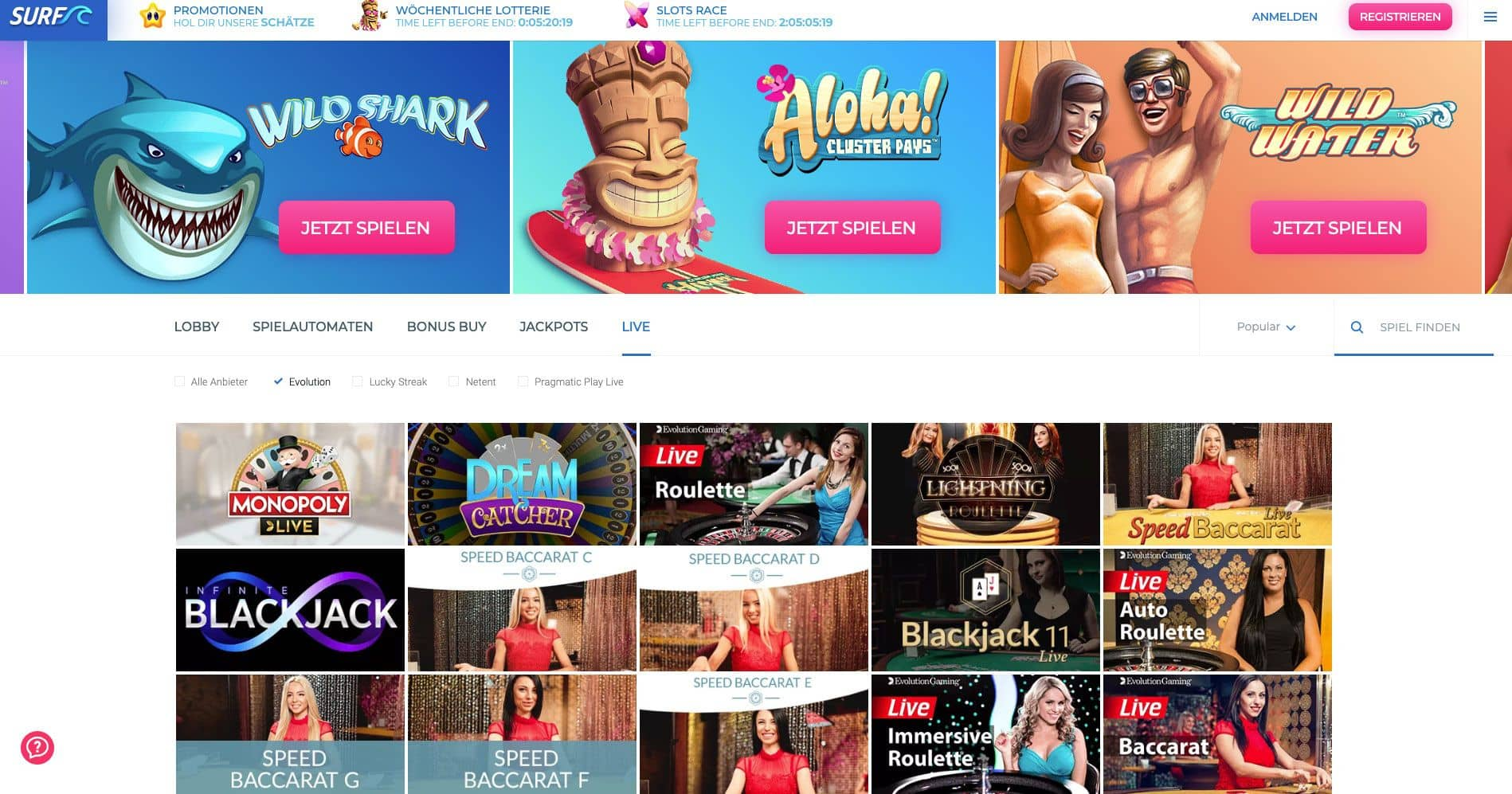 Surf Casino Live Games