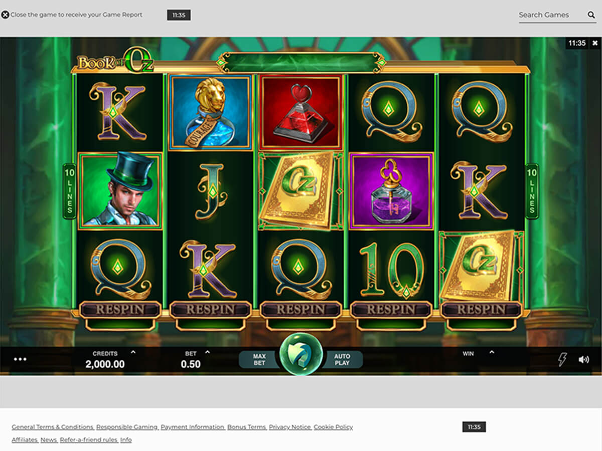 Desktop Screenshot des Book of Oz Slots im NYSpins Online Casino