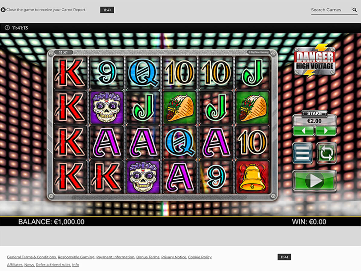 PC Screenshot des Danger High Voltage Slots beim NYSpins Casino