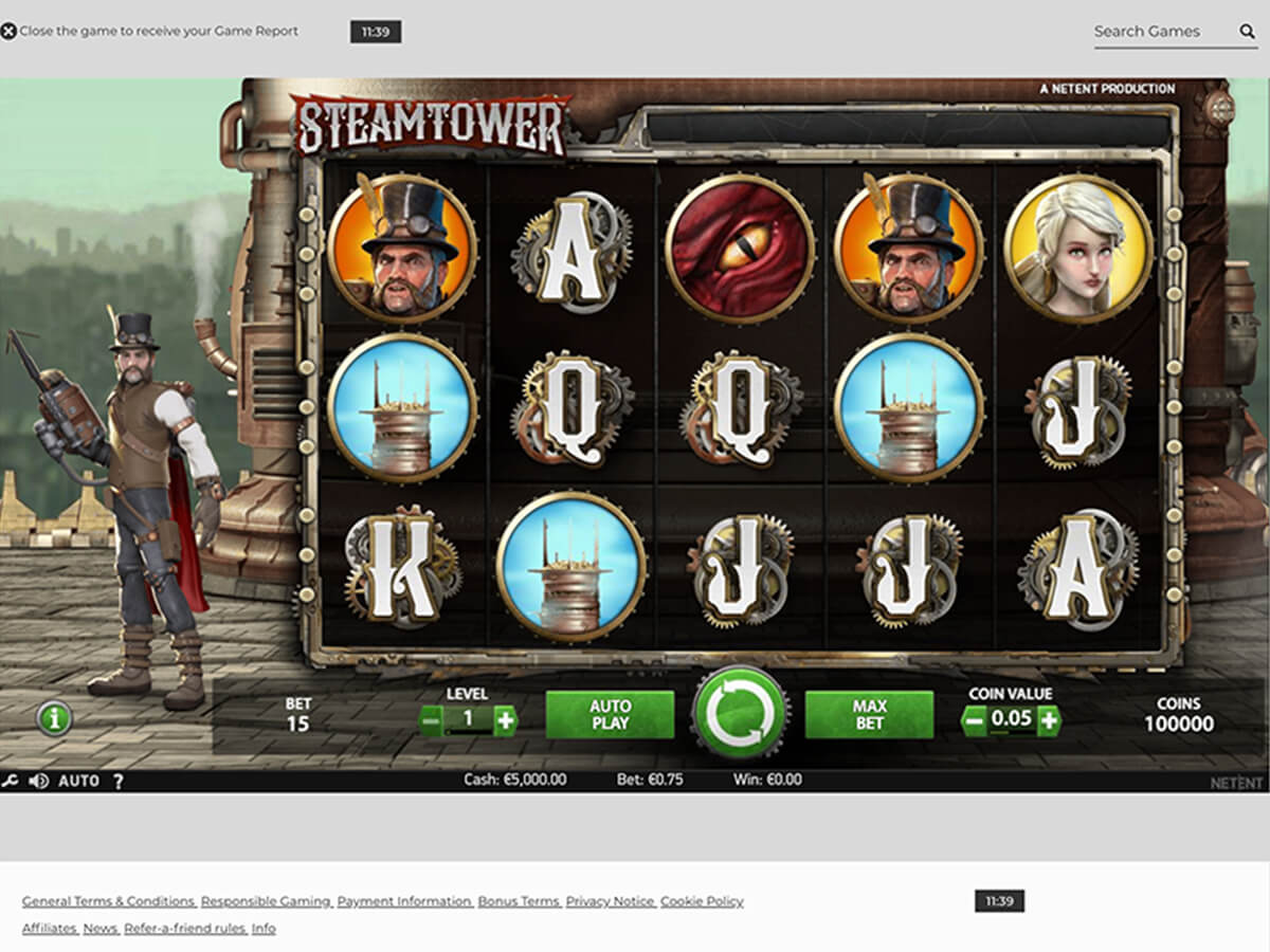 Screenshot des Steamtower Slots für Desktop im NYSpins Online Casino
