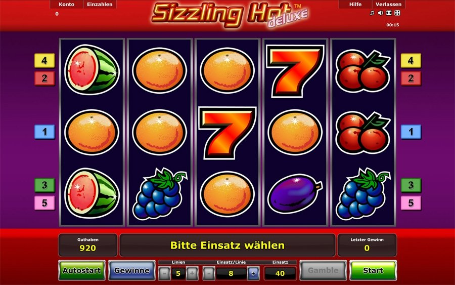 start online casino sizling hot