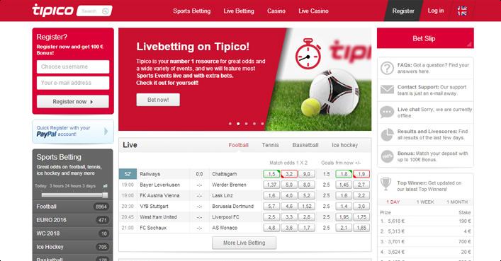 Tipico Sportwetten Programm