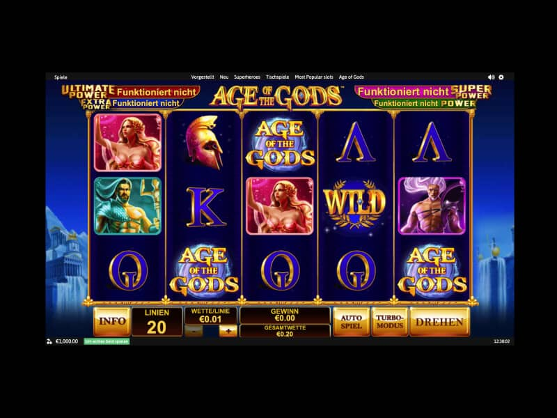 Screenshot Winner casino spielautomat Age of the Gods