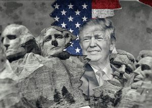 Donald Trumps Kopf ist in das Nationaldenkmal Mount Rushmore eingebettet.