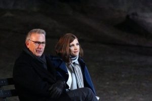 Szene aus Molly's Game mit Kevin Costner und Jessica Chastain