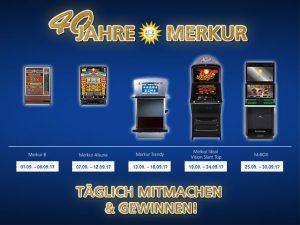 Fünf Spielautomaten von Merkur zum 40-jährigen Jubiläum