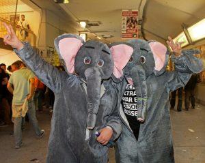 Zwei Männer in Elefantenkostümen