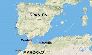 Lage von Ceuta und Melilla
