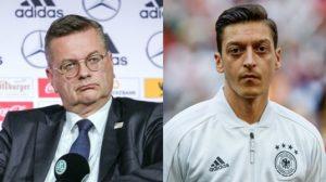 DFB Chef Grindel (links) und Ex-Nationalspieler Özil (rechts