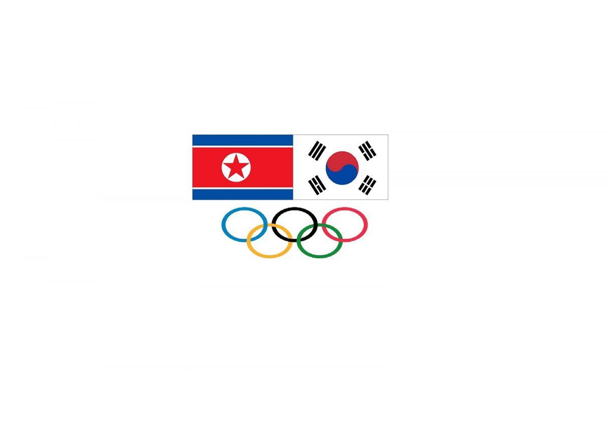 Nordkorea Flagge Südkorea Flagge Olympische Flagge