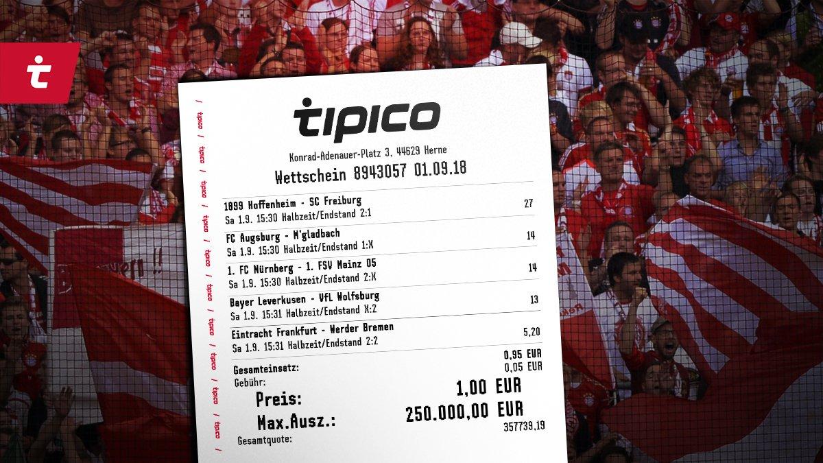 Wettschein mit 1 € Einsatz für 250.000 € Gewinn