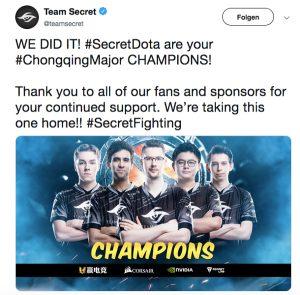 Team Secret Twitter-Post