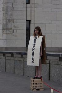 Frau, Transparent, Demonstration