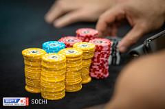 Chips auf Pokertisch