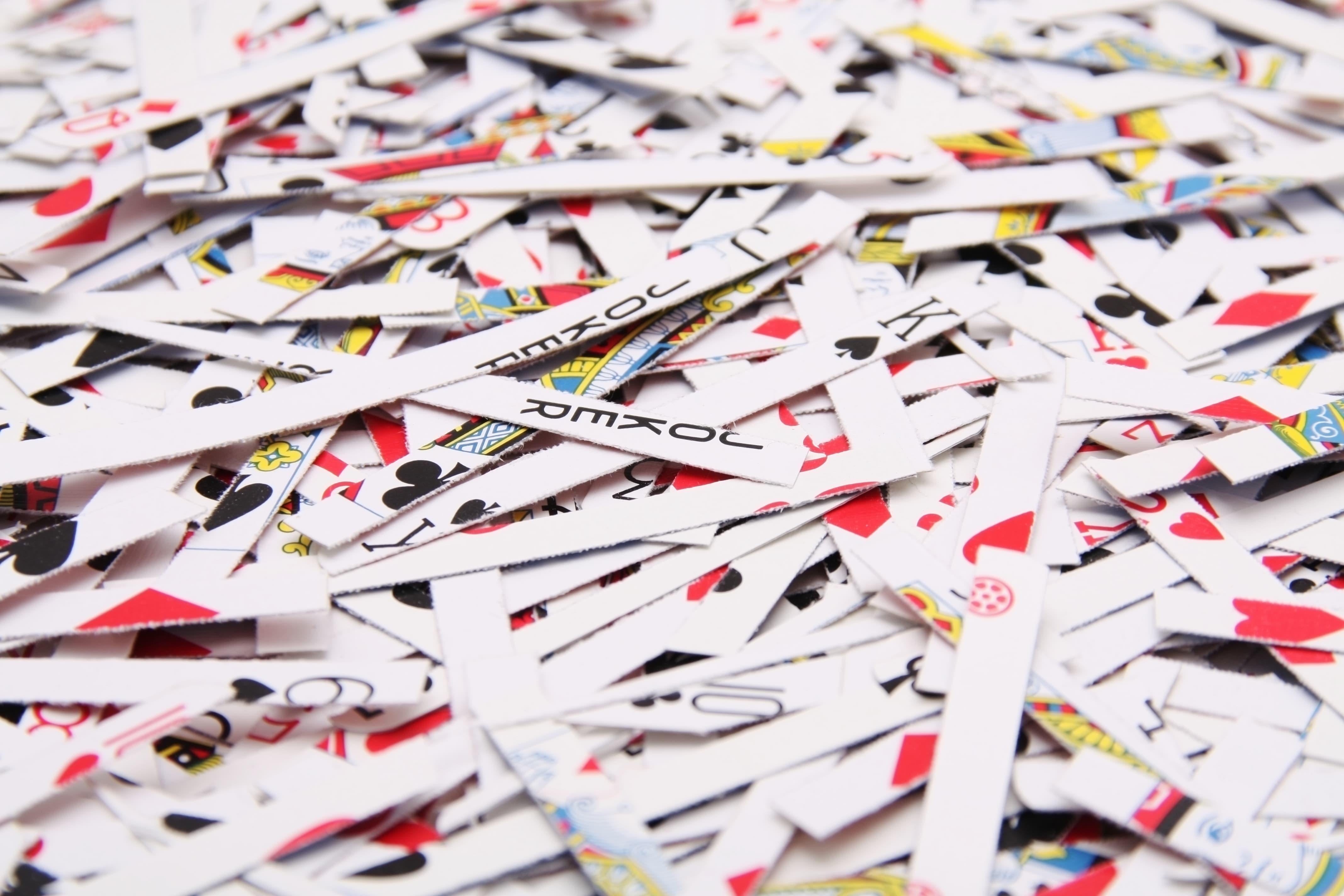 Casino Spielkarten geschreddert