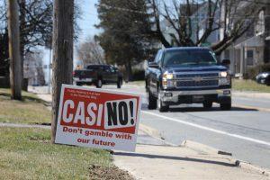 Anti Casino-Schild Straßenrand