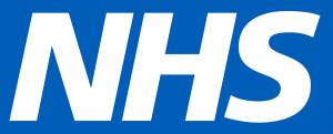 Das Logo der NHS in Großbuchstaben