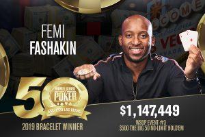 Femi Fashakin, Siegerfoto, Bracelet, WSOP 2019