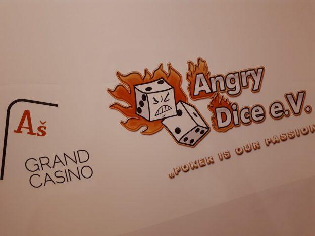 Grand Casino Aš Logo, Angry Dice Logo