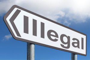 Illegal auf Schild