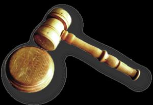Richterhammer und Unterlage aus Holz