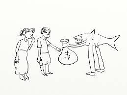 Zeichnung Kredithai gibt Geldsack an Menschen