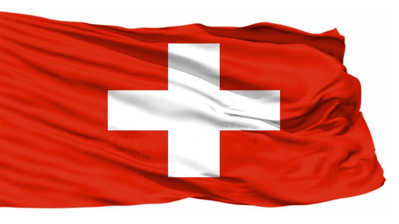 Schweizer Flagge in rot-weiss