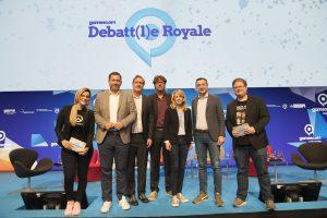 v..l.n.r.: Melek Balgün (m3lly), Lars Klingbeil (SPD), Jörg Schindler (Die Linke), Michael Kellner (Bündnis 90/Die Grünen), Linda Teuteberg (FDP), Paul Ziemiak (CDU) und Peter Smits (PietSmiet), gamescom congress, Debatt(l) Royale, Congress Centrum Nord, Konrad-Adenauer-Saal