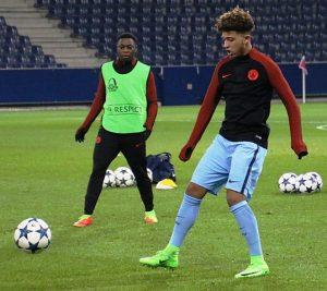 Fußballspieler Jadon Sancho, Spiel FC Salzburg gegen Manchester City FC 2017