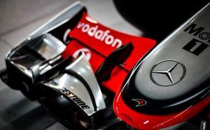 Die Spitze des Mercedes Rennwagens