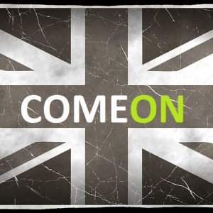 UK Flagge schwarz-weiß ComeOn aufschrift