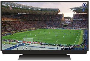 Fußballspiel auf Fernsehbildschirm