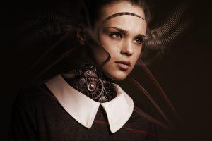 Frau, Roboter, Zahnräder