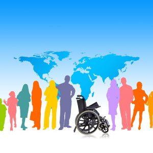 Weltkarte, Menschen, Silhuetten, Rollstuhl