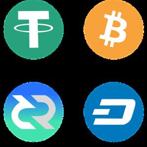 Die Symbole verschiedener Kryptowährungen